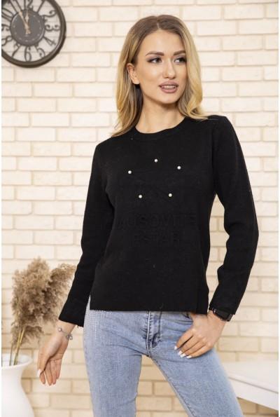 Женский свитер черного цвета с бусинами 167R7010