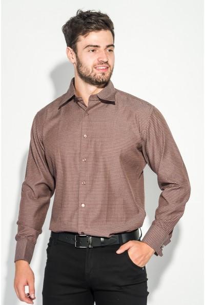 Рубашка мужская шоколадная приталенная 37162-19
