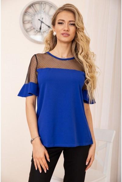 Кофта с короткими рукавами и прозрачной сеткой цвет Синий 172R011 57016
