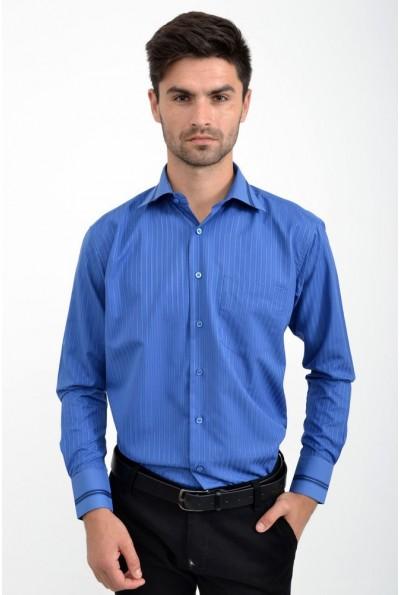 Рубашка мужская синяя с длинными рукавами 5-9060-8