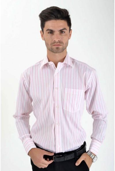 Рубашка мужская классическая, бело-розовая 515-5 8686