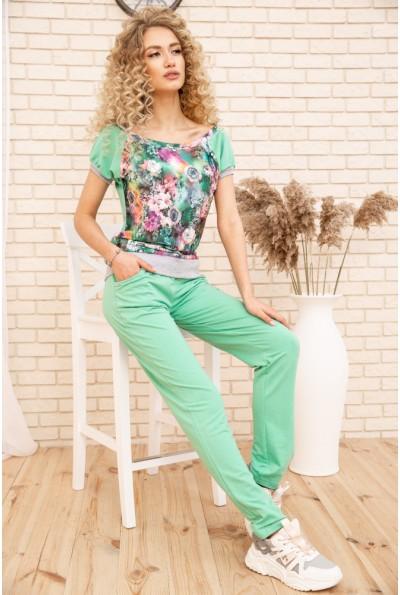 Женский прогулочный костюм двунитка Футболка и штаны цвет Мятный 167R5-2 53395