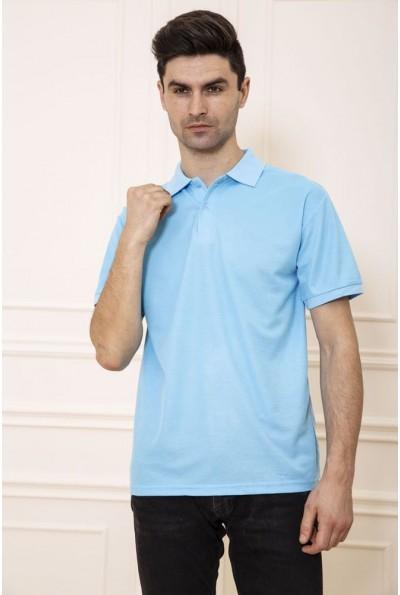 Поло мужское хлопковое с коротким рукавом цвет Голубой 168RA2-5 47991