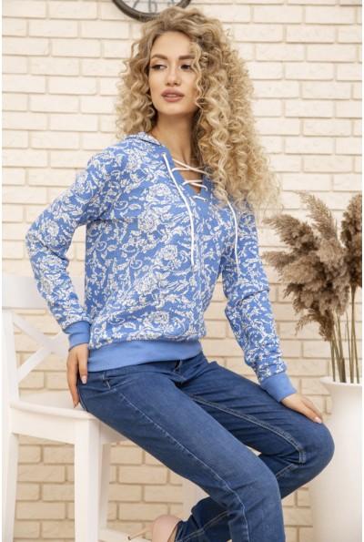 Батник женский с манжетами, трикотажный с капюшоном AG-0009612 Голубой с белым