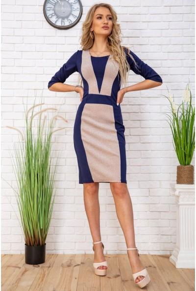 Платье футляр подчеркивающее фигуру цвет Сине-бежевый 172R37-1 57256