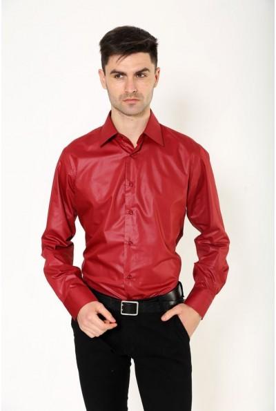 Рубашка мужская темно-бордовая 113RPass25