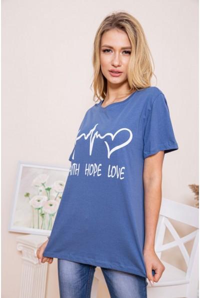Женская футболка цвета джинс свободного кроя  102R145