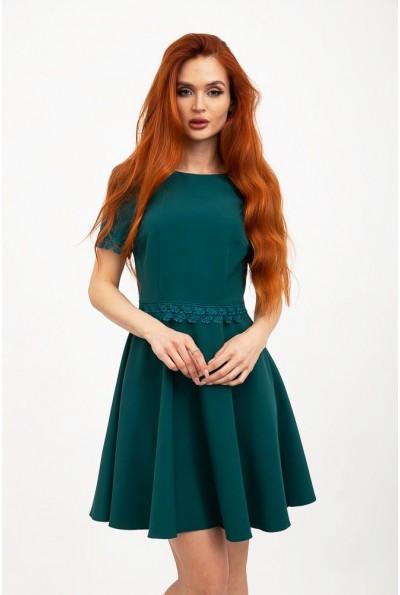 Платье зеленое нарядное с коротким рукавом, однотонное 131R2466