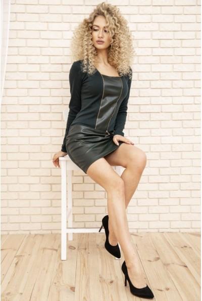 Женское платье мини из эко-кожи цвет Черный 167R36-2