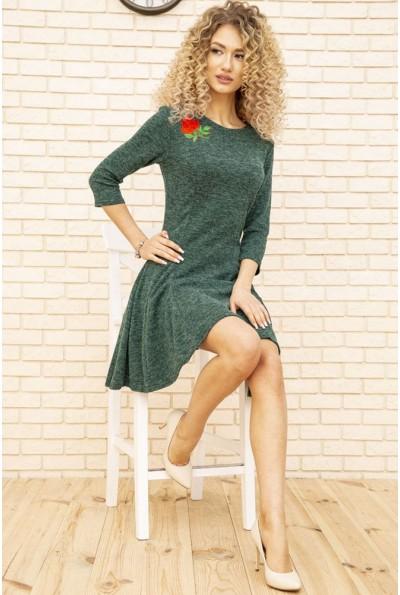 Платье женское расклешенное с цветком цвет Зеленый 167R1071 51544