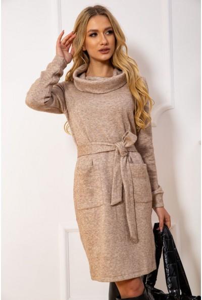 Платье женское с поясом цвет Бежевый
