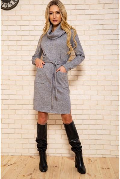 Платье женское с поясом цвет Серый