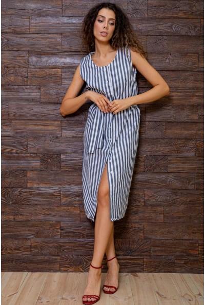 Платье  в полоску 167R8-5 цвет Серо-белый 62817