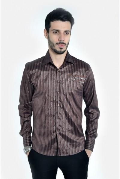 Рубашка мужская  коричневая 103RMB039