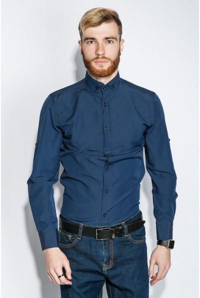 Рубашка мужская синяя приталенная 333F007