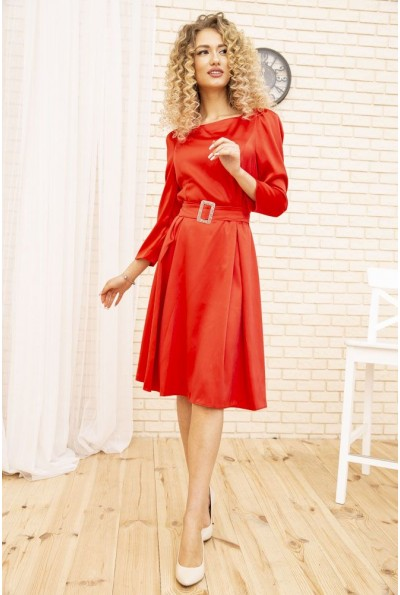 Вечернее платье женское с поясом расклешенное цвет Красный 167R0122-1 51611