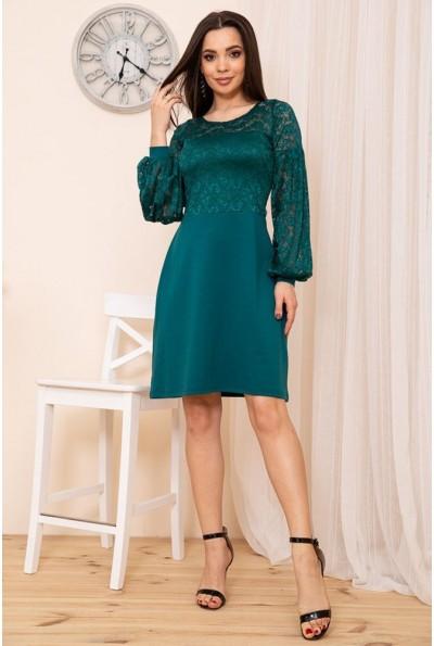 Женское приталенное платье из гипюра цвет Зеленый 167R9-2