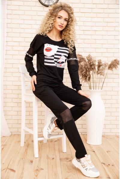 Женский костюм двунитка Свитшот и штаны цвет Черный 167R23-1 53451