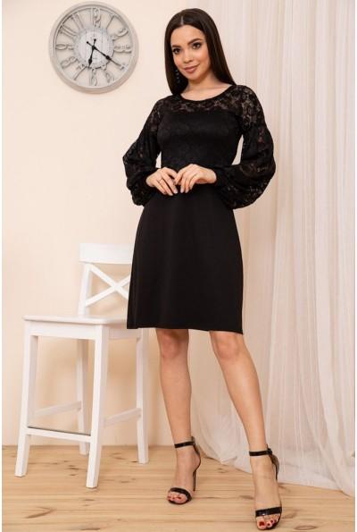 Женское приталенное платье из гипюра цвет Черный 167R9-2 54465