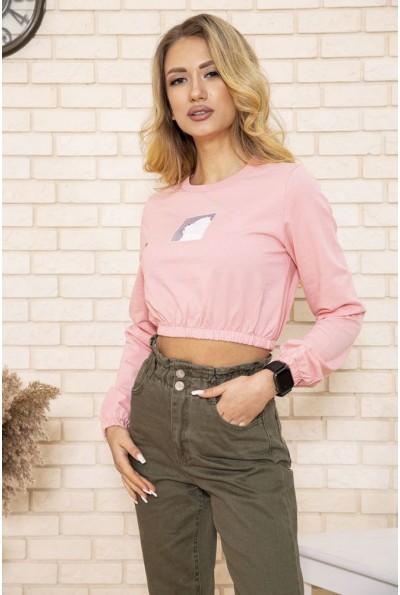 Женский укороченный свитшот персикового цвета 119R492
