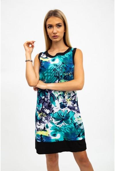 Платье-сарафан, женское, хлопковое, черно-зеленое 115R113
