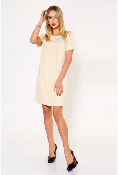 Стильное однотонное платье бежевого цвета 115R159