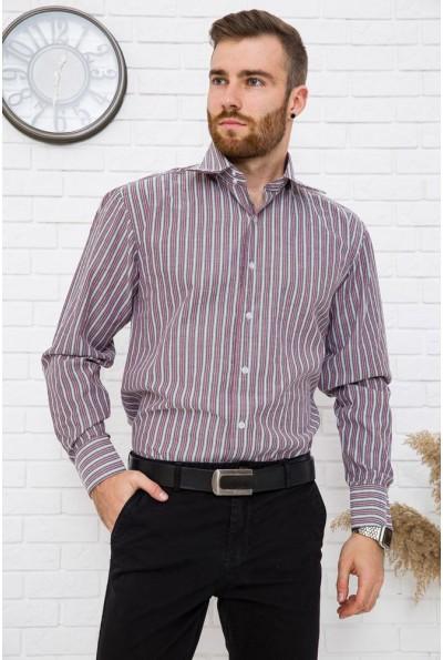 Рубашка мужская вишневая в полоску офисный стиль 24#LS