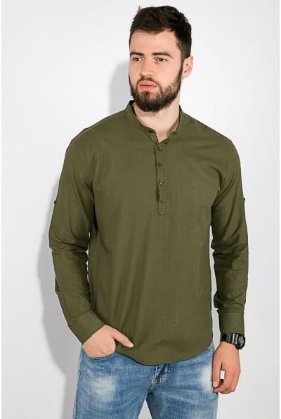 Рубашка мужская хаки с воротником стойкой и регулируемыми рукавами AG-0010586