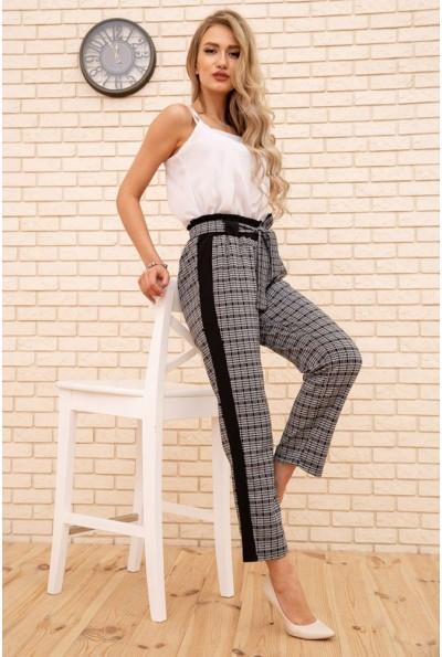 Женские укороченные брюки в клетку с лампасами цвет Серый 172R9314-2