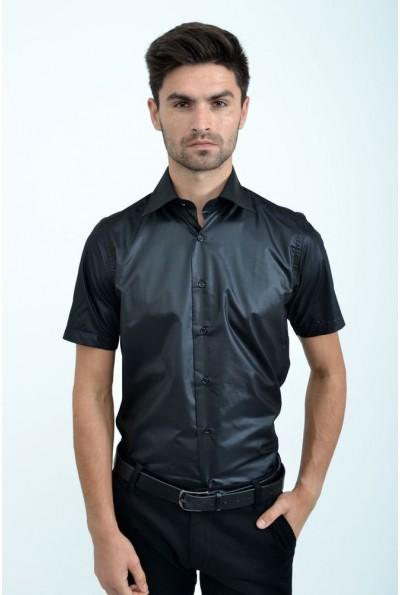 Черная мужская однотонная рубашка 113RPass0010 9919