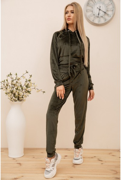 Спортивный костюм женский велюровый цвет Хаки 119R278 54632
