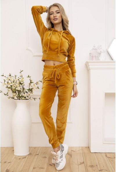 Спортивный костюм женский велюровый цвет Горчичный 119R278
