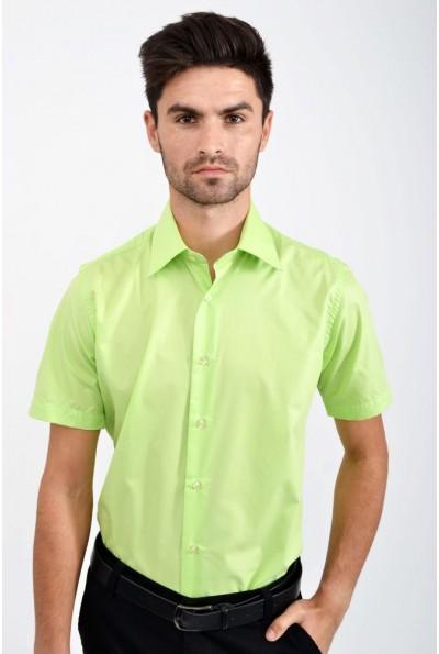 Мужская однотонная рубашка салатовая 113RPass0010 9917