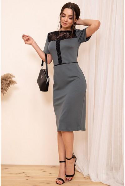 Платье карандаш с короткими рукавами цвет Серый 167R25-4 54295