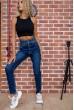 Женские джинсы с высокой талией синие 129R5088 скидка