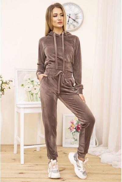 Спортивный костюм женский велюровый цвет Мокко 119R278