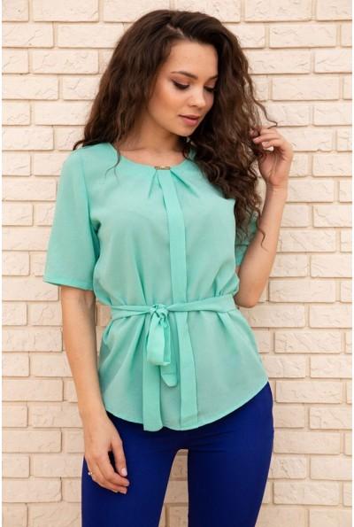 Летняя блузка шифоновая с короткими рукавами и пояском цвет Ментоловый 172R22 57375