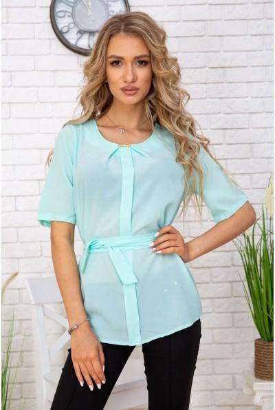 Летняя блузка шифоновая с короткими рукавами и пояском цвет Мятный 172R22 57373
