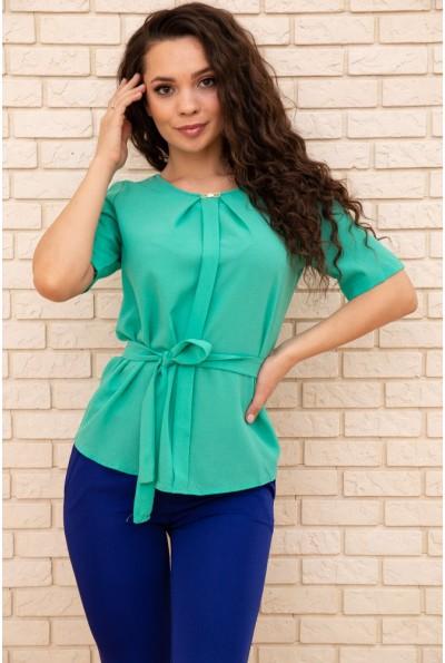 Летняя блузка шифоновая с короткими рукавами и пояском цвет Зеленый 172R22 57371