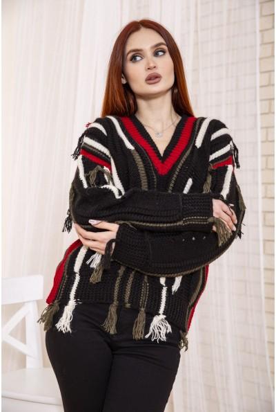 Черно-красный женский свитер с бахромой 129R2410