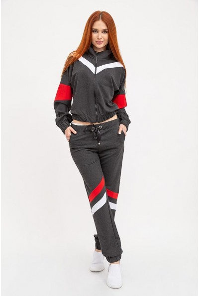 Спортивный костюм женский плащевка с резинкой на манжете 103R014 Темно-серый с полосками