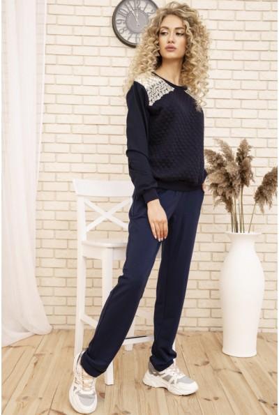 Женский прогулочный костюм двунитка Свитшот и штаны цвет Синий 167R2-2 53325
