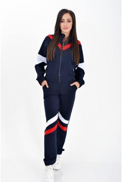 Спортивный костюм женский плащевка с резинкой на манжете 103R014 Темно-синий с полосками