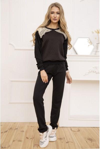 Женский прогулочный костюм двунитка Свитшот и штаны цвет Черный 167R2-2