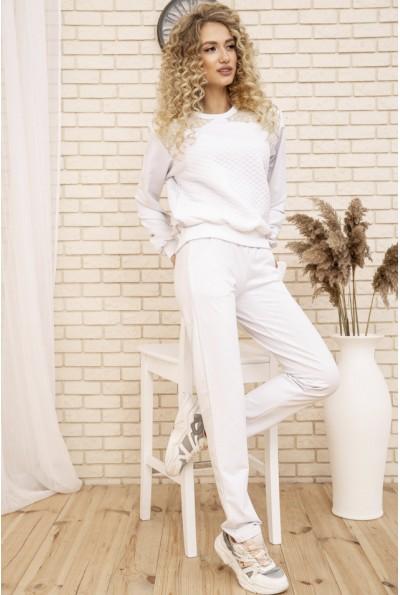 Женский прогулочный костюм двунитка Свитшот и штаны цвет Белый 167R2-2