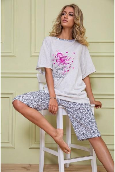 Пижама женская батал 167R11149 цвет Серо-синий 62649