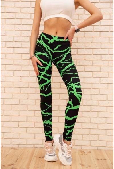 Лосины для спорта с неоновыми вставками цвет Черно-зеленый 172R3110-2 55915