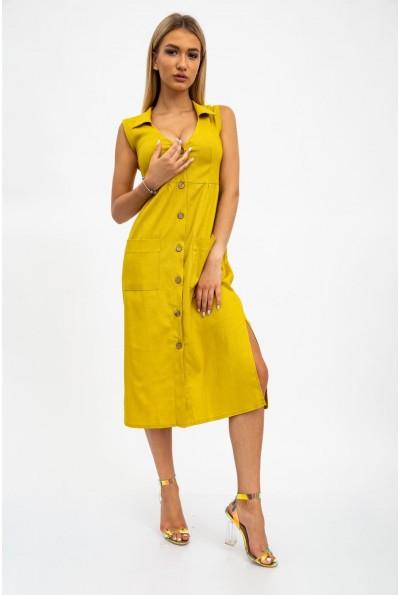 Платье-сарафан женское, однотонное, летнеес карманами, горчичное112R491 34310