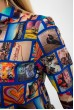 Блуза женская, разноцветная,синяя115R263-3 скидка