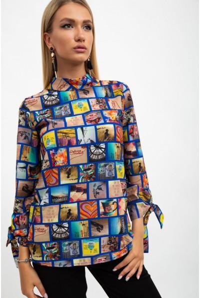 Блуза женская, разноцветная,синяя115R263-3